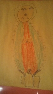child's drawing of Our Lady of Guadalupe